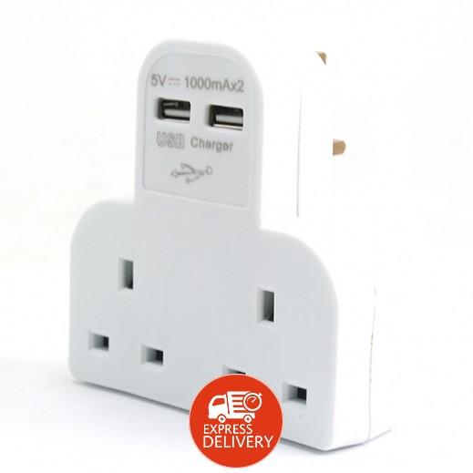 إيسترن – اشتراك حائط كهربائي 2 مخارج مع 2 منفذ USB للشحن 2 أمبير – أبيض