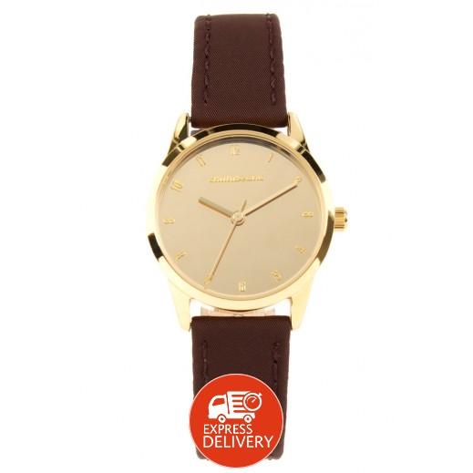 تشيلي بينز - ساعة يد دائرية  للسيدات - بني