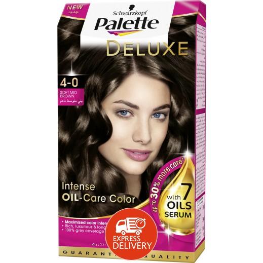 باليت – صبغة شعر باليت ديلوكس المركزة بعناية الزيت - درجة اللون 4-0 بني وسط ناعم