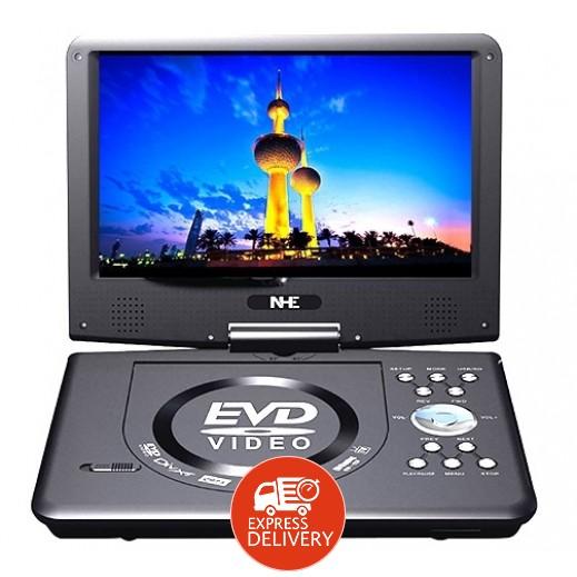 إن إتش إي – مشغل الوسائط المتعددة DVD المحمول 9 إنش مع منفذ USB وفتحة كارت SD – أسود