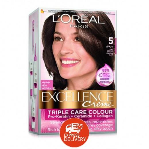 """لوريال باريس – صبغة شعر بكريم """"Excellence"""" رقم 5 لون بني فاتح"""