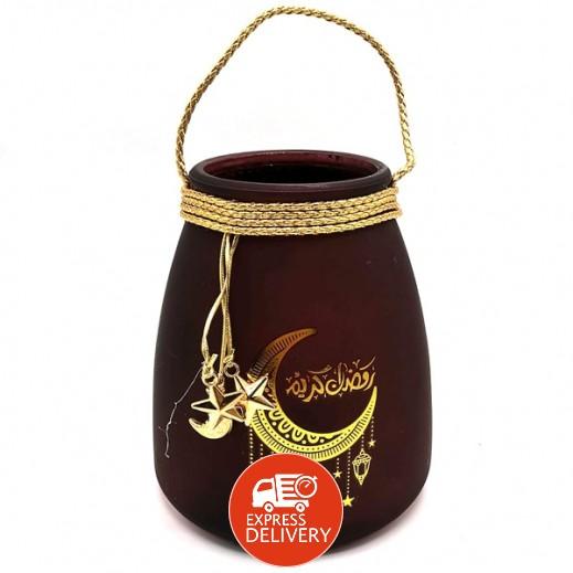 صندوق حلوى القرقيعان مع غطاء بني وذهبي