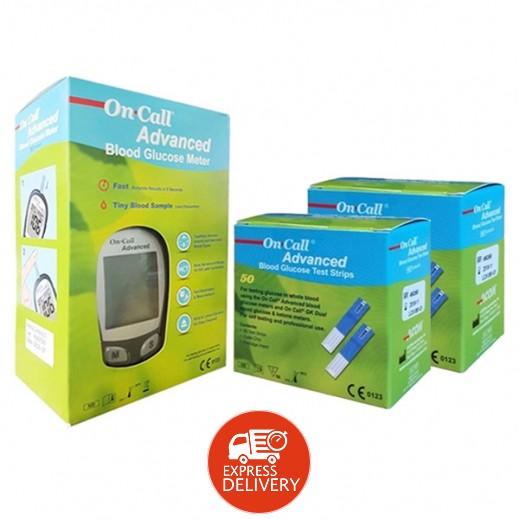 أون كول أدفانسيد – جهاز فحص السكر في الدم + 100 شريط فحص