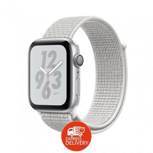 ساعة أبل ووتش سلسلة Nike+ الفئة 4 قياس 40 مم مع GPS وإطار ألمونيوم فضي مع حزام رياضي أبيض