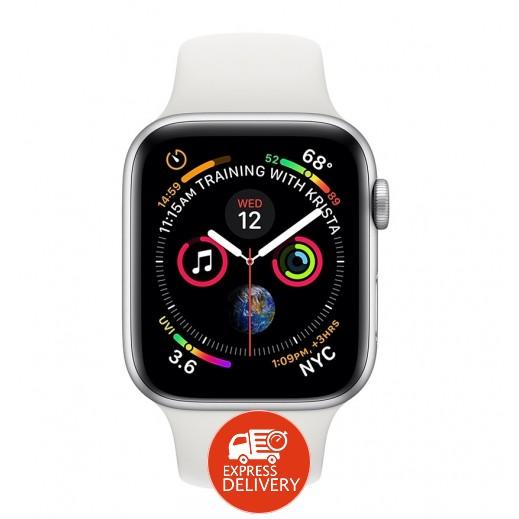 ساعة أبل ووتش الفئة 4 قياس 44 مم مع GPS و خلوي إطار ألمونيوم فضي مع حزام رياضي أبيض