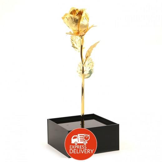 كيو بيست - وردة صغيرة من الذهب عيار 24 (26 سم)