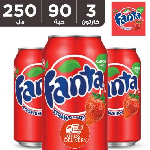فانتا – شراب الفراولة 250 مل ( 3 كرتون × 30 حبة ) - أسعار الجملة
