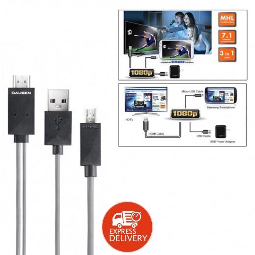 داوسن – كيبل USB الثنائي إلى ميكرو USB و HDMI – أسود