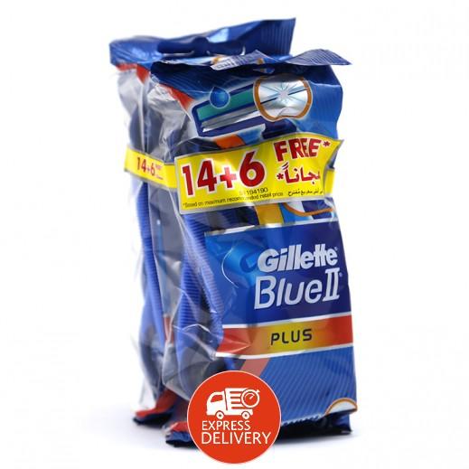 جيليت - ماكينة حلاقة Blue 2 بلس ذات الأستعمال الواحد 14+6 مجاناً