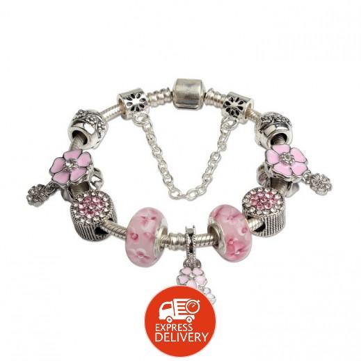 هومهل – سوار فاخر مزين بالخرز والورد الفضي والزهري 19 سم
