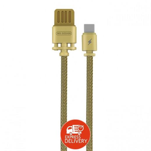 دبليو كي ديزاين – كيبل USB Type-C معدني طول 1 متر – ذهبي