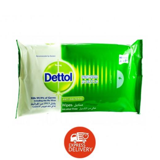 ديتول – مناديل مضادة للجراثيم خالية من الكحول (40 منديل )