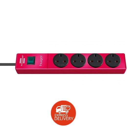 برينستول - وصلة تمديد كهربائية مع 4 مقابس 2 متر - احمر لامع