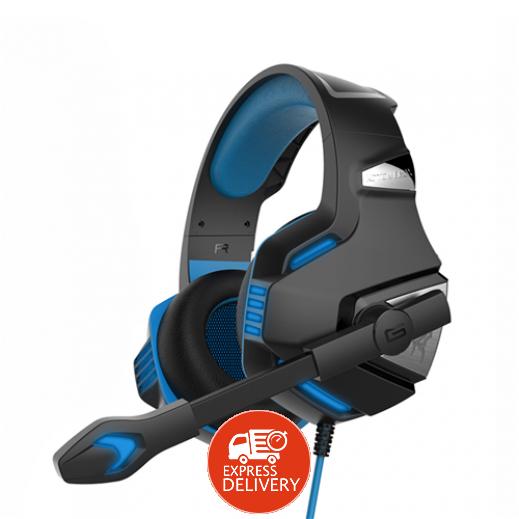 كوشن – سماعة رأس G7500 لألعاب الكمبيوتر مع إضاءة LED ومايك – أزرق