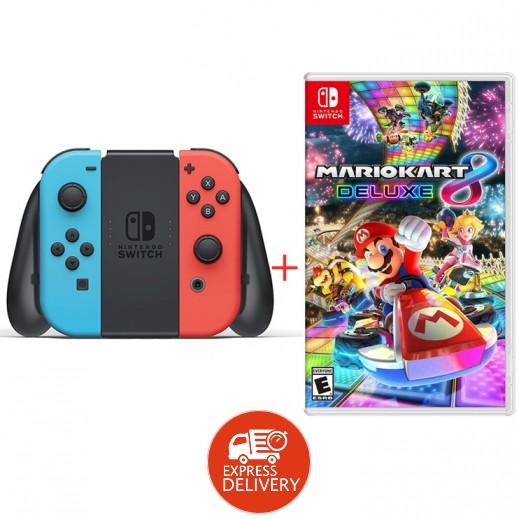جهاز الألعاب نينتندو Switch مع يد التحكم Joy-Con أزرق وأحمر + لعبة Mario Kart 8 Deluxe