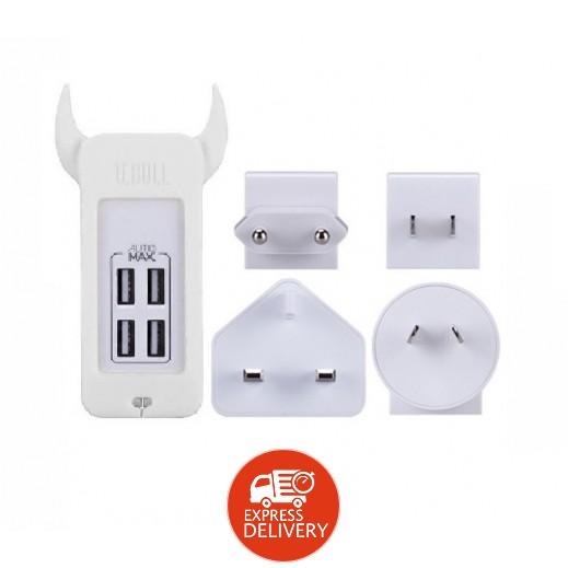 موماكس – شاحن كهربائي عالمي 4 منافذ USB – أبيض