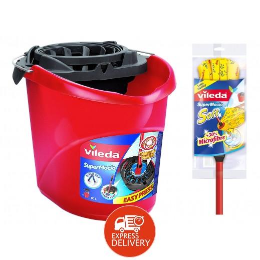 فيليدا – ممسحة ناعمة لتنظيف الأرضيات – أصفر  + دلو التنظيف مجاناً