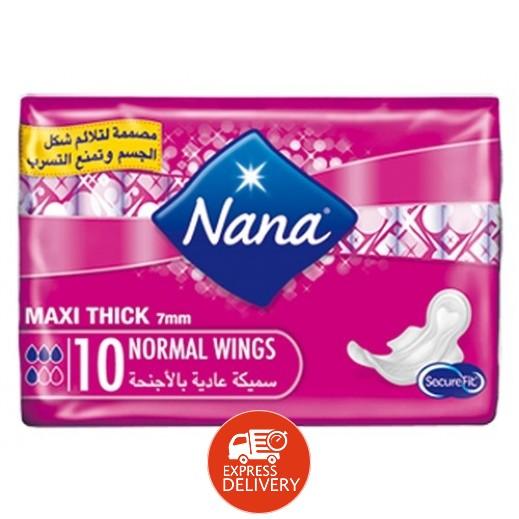 """نانا – فوط صحية """" ماكسي """" حجم عادي بالأجنحة 10 حبة"""
