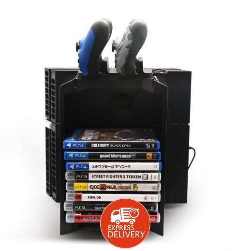 برج تخزين متعدد الوظائف لاقراص العاب الفيديو/تبريد/شحن ليدة التحكم لاجهزة PS4/PS3