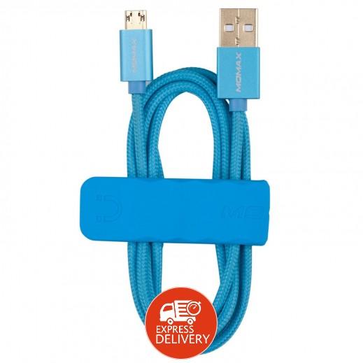موماكس – كيبل شحن ميكرو USB مع قاعدة للهواتف الذكية طول 1 متر – أزرق