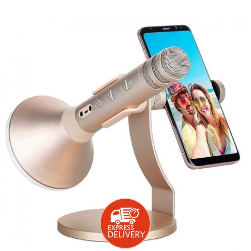 موماكس – سماعة كاريوكي KMIC PRO لاسلكية قابلة للشحن مع مايك ومكبر صوت وقاعدة لحمل الهواتف الذكية بقوة 2500 مل أمبير – ذهبي