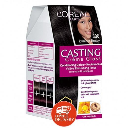 """لوريال باريس – صبغة شعر بكريم """"Casting"""" رقم 300 بلون بني غامق"""