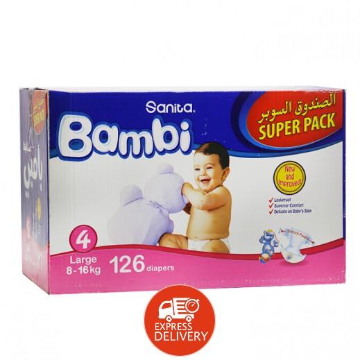 سانيتا – بامبي حفاضات أطفال مقاس (4) حجم كبير (8-16 كجم)  126 حفاضة