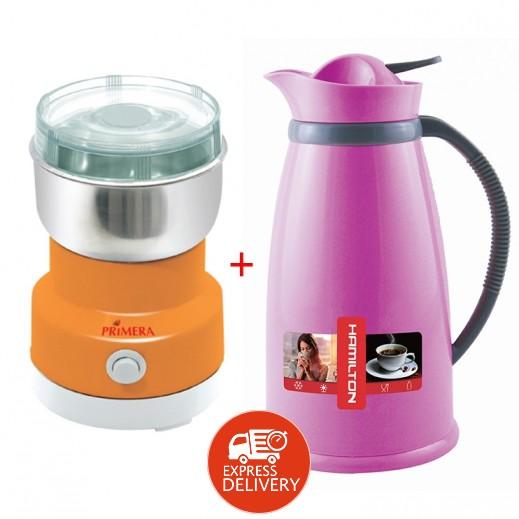 برايميرا – مطحنة قهوة 150 واط + مطارة سعة 1.5 لتر
