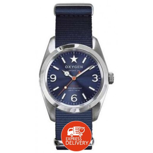 """أكسجين – ساعة """"سبورت"""" للسيدات بحزام أزرق/أزرق فاتح موديل EX-S-BOS-34"""