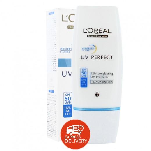لوريال – UV بيرفكت سائل الوجه للحماية القصوى SPF 50 - عبوة 30 مل
