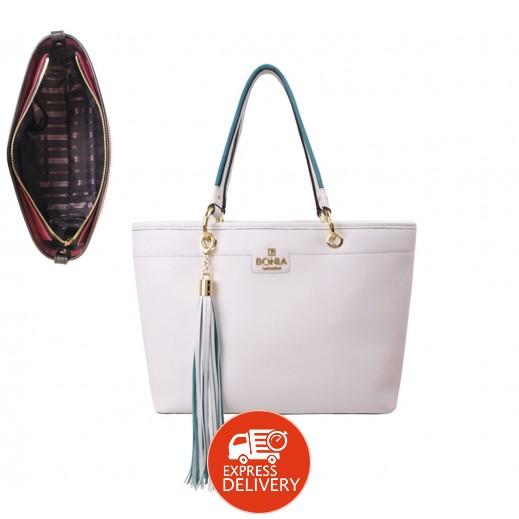 بونيا - حقيبة يد جلدية للسيدات - أبيض