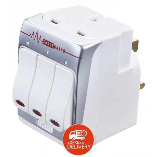 ماستربلج – مقبس حائط كهربائي مع مفتاح ستايل إنجليزي 3 مخارج 13 أمبير – أبيض