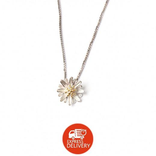 هومهل – قلادة بلاتينيوم مطلية بالفضة الخالصة يتدلى منها زهرة الأقحوان