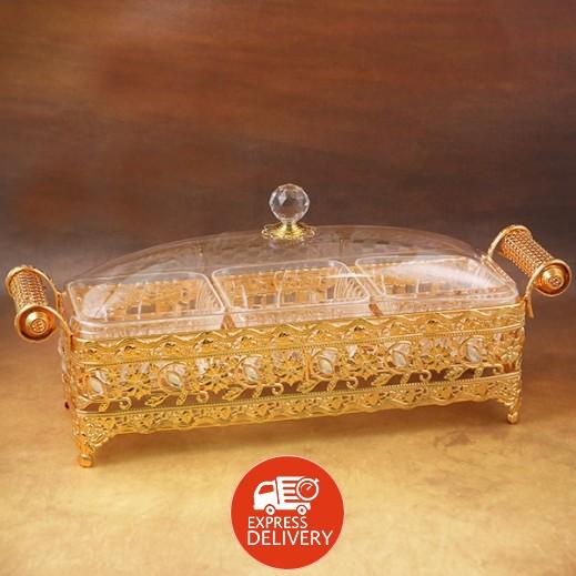 صندوق الحلويات ذهبي إكليرك - حجم وسط