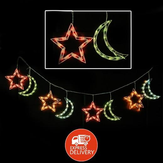 عنابي - ديكورات رمضانية بضوء LED - بشكل الهلال والنجمة