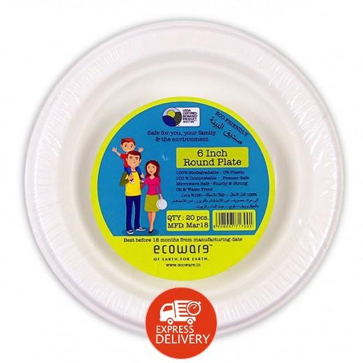 إيكووير - أطباق دائرية قابلة للتحلل 6 بوصة - 20 حبة