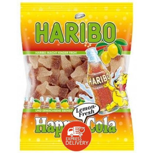 """هاريبو – حلوى الجيلاتين """" هابي كولا ساور """" مغطاة بالسكر 200 جم"""
