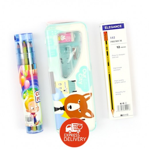 أور سيتي علبة هندسة + أقلام رصاص إليجانس 12 حبة + أقلام تلوين خشبية 12 حبة