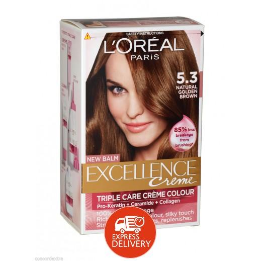 """لوريال باريس – صبغة شعر بكريم """"Excellence"""" رقم 5.3 بلون بني ذهبي فاتح"""