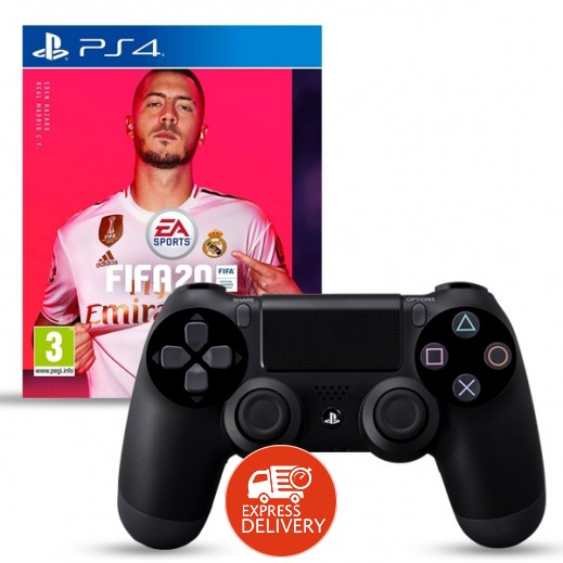 لعبة FIFA 20 Standard Edition لجهاز بلاي ستيشن 4 – نظام PAL عربي + يد التحكم اللاسلكية Dualshock 4
