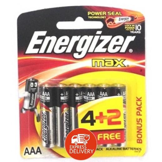 إنرجايزر ماكس - بطارية الكالين مقاس AAA - عبوة 4 + 2 حبة
