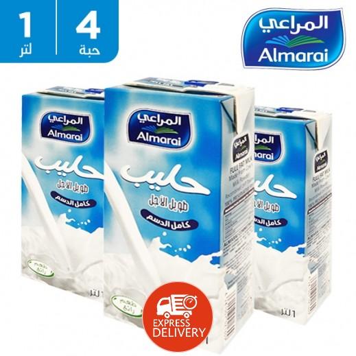 المراعي - حليب كامل الدسم طويل الأمد 1 لتر (4 حبة )