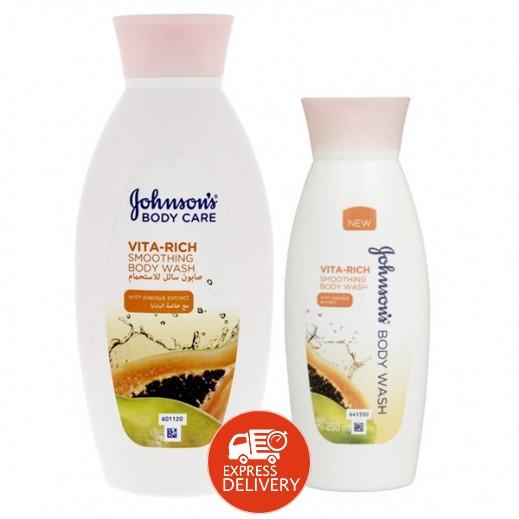 """جونسون – صابون سائل للاستحمام """"Vita-Rich"""" – مع خلاصة البابايا 400 مل + 250 مجاناً"""