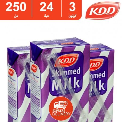 كى دى دى – حليب طويل الأمد خالي الدسم 250 مل ( 3 كرتون × 24 حبة ) -  أسعار الجملة