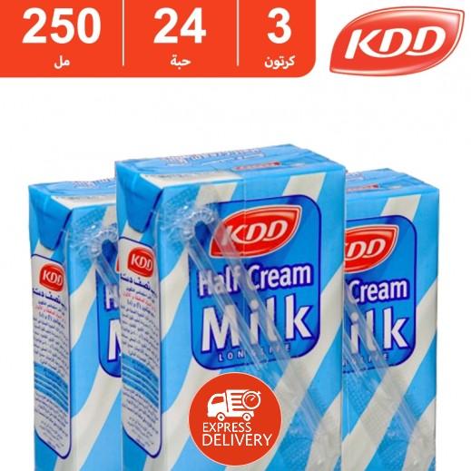 كى دى دى – حليب طويل الأمد نصف الدسم 250 مل ( 3 كرتون × 24 حبة ) -  أسعار الجملة
