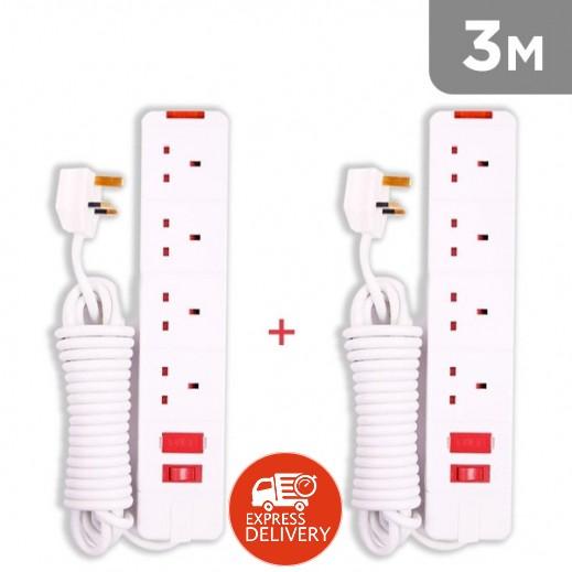 وصلة اشتراك كهربائية 4 مخارج 3 متر 13 امبير – ابيض-(2 حبه)