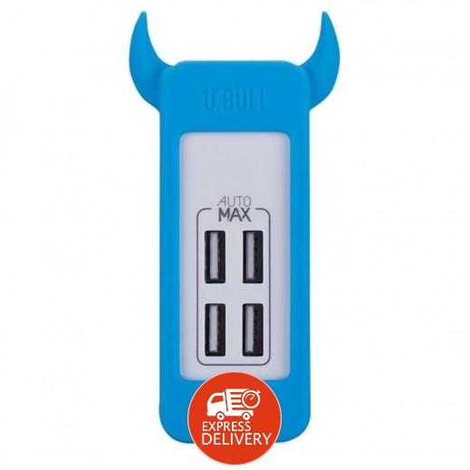 موماكس – شاحن كهربائي USB رباعي المنافذ – أزرق