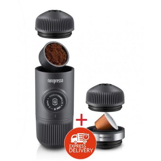 وكاكو – صانع قهوة الاسبريسو Nanopresso مع محول لكبسولات حجم 3.7×2.8 سم وحقيبة - اسود