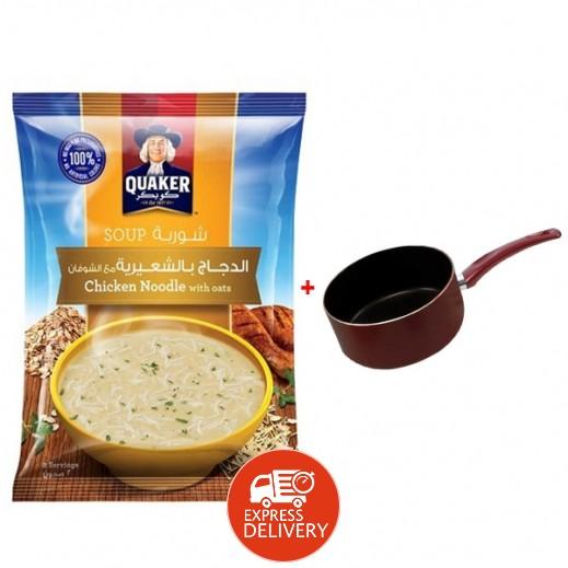 كويكر – شوربة الدجاج بالشعيرية مع الشوفان 12 × 66 جم  (2 عبوة) + هاميلتون – وعاء طهي غير لاصق 16 سم مجانأً