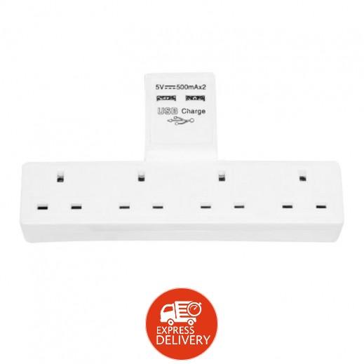 إيسترن – اشتراك حائط كهربائي 4 مخارج مع 2 منفذ USB للشحن 1 أمبير – أبيض